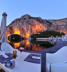 Vouliagmeni Lake by night... Attica, Greece