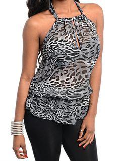Black Grey Animal Print Halter Leopard Print Blouson Blouse Ruched Halter Top  #PrintTop #Halter #SpringFashion