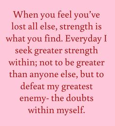 self doubt and strength