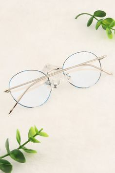Blue Floral and Silver Cute Glasses Frames, Glasses Outfit, Glasses Trends, Prescription Glasses Frames, Matching Couple Outfits, Mens Glasses, Eyeglasses, Fashion Accessories, Chokers