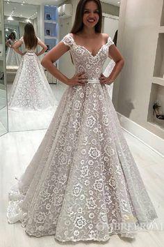 Off Shoulder V Neck Lace Wedding Dress with Appliques Birdal Dress W566   weddingdress  bridaldress 8896c2cd7b31