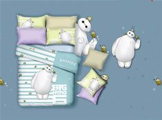 New baymax 3d bedding set big hero 6 100% cotton twill bedding a family of four cartoon three-piece fitted sheets pillowcases 3d bedding#dhgatepin