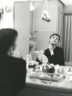 Audrey Hepburn in her dressing room during the Broadway production of Ondine, 1954. (Mark Shaw)