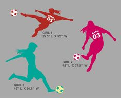 LARGE Soccer Girl  Wall Decal   Personalized with Name by Round321, $48.00