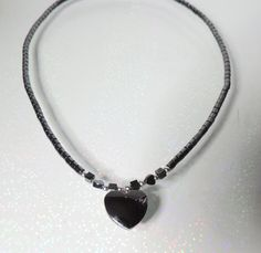 Elegant Hematite Sterling Silver Heart Necklace by EstateHeirlooms