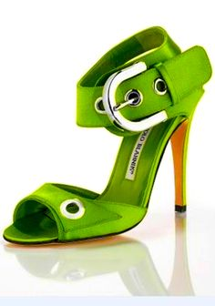 Lime and giant buckles?  It's like you climbed right inside my chest and yanked out my heart's desire, Manolo Blahnik.