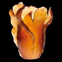 Daum Crystal Tulipe Amber Vase