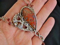 Morgan Hill poppy jasper gothic, steampunk, silver necklace