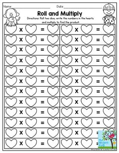 Roll and Multiply- Dice games make practicing multiplication facts FUN! Use this one over and over again. You could ever work with a 10-sided die!