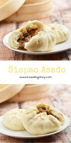 Siopao Asado are steamed buns filled with sweet and salty shredded pork giniling recipe filipino food Siopao Asado Philipinische Desserts, Filipino Desserts, Filipino Recipes, Asian Recipes, Dessert Recipes, Filipino Food, Filipino Dishes, Guam Recipes, Easy Recipes