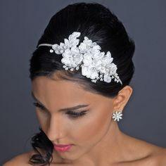 Diamond White Lace and Pearl Wedding Headband - Affordable Elegance Bridal -