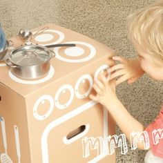 cardboard kitchen, cooktop, oven, refrigerator by flatout frankie
