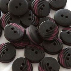 Fancy and Decorative {15mm w/ 2 Holes} 24 Pack of Medium Size Round 'Flat' Sewing and Craft Buttons Made of Acrylic Resin w/ Dark Layered Carved Texture Matte Charcoal Tone Design {Black and Purple Color} -- Read more at the image link.