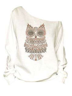 Vintage-Owls Print off shoulder slouchy  oversized raw edge Sweatshirt(w-h-30) by Hellominky on Etsy