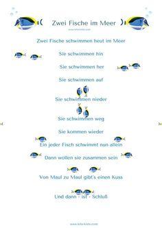 """Fingerspiel """"Zwei Fische im Meer"""" - lege beide Hände zusammen und schwimme nach l. /r. / oben / unten / hinter dem Rücken verstecken / wiederkommen / Hände einzeln (wie 2 Fische) - Schlußgeste: 2 Arme kreuzen o.ä. - siehe auch: Fischprojekt auf der Webseite: https://kitakiste.jimdo.com/projekte/"""