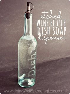 Wine Bottle DIY Crafts - DIY Etched Wine Bottle Dish Soap Dispenser - Projects for Lights, Decoration, Gift Ideas, Wedding, Christmas. Easy Cut Glass Ideas for Home Decor on Pinterest http://diyjoy.com/wine-bottle-crafts