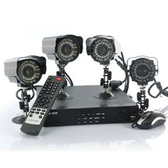 Network Video Recorder with 4 outdoor IP cameras and smartphone support. This NVR allows you to set up a wireless CCTV network. Surveillance Equipment, Security Equipment, Security Surveillance, Surveillance System, Wireless Ip Camera, Smartphone, Hybrid Network, Cctv Kits, Outdoor Camera