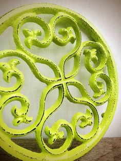 BOLD TRIVET vibrant chartreuse lime green   // ornate round floral design // rustic shabby cottage chic // hand painted // kitchen decor on Etsy, $15.00