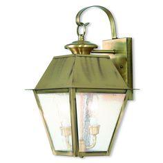 Livex Lighting Mansfield Antique Brass Outdoor Wall Lantern 2165-01