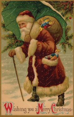 Vintage Christmas Postcard Of Santa Claus Holding A Glass Of Punch ...