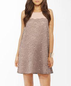 Taupe lace shift dress