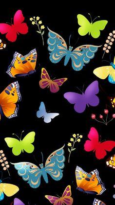 Colorful butterflies Vintage Flowers Wallpaper, Unique Wallpaper, Heart Wallpaper, Butterfly Wallpaper, Love Wallpaper, Cute Emoji Wallpaper, Abstract Iphone Wallpaper, Cute Wallpaper Backgrounds, Cellphone Wallpaper