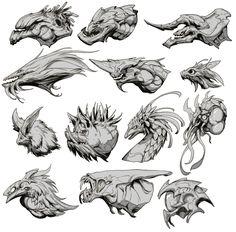 Monster Concept Art, Alien Concept Art, Creature Concept Art, Creature Design, Mythical Creatures Art, Weird Creatures, Fantasy Creatures, Monster Drawing, Monster Art