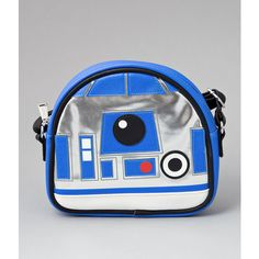 Loungefly Metallic Silver & Blue Leatherette Star Wars R2-D2 Crossbody... ($39) ❤ liked on Polyvore featuring bags, handbags, shoulder bags, multicolor, multi colored purses, blue shoulder bag, crossbody purse, blue cross body purse and zipper purse