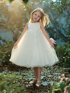 Disney Blossoms Style 718: tea length flower girl dress with net, satin, re-embroidered lace, crystal beading and sequins
