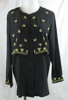 Diane Von Furstenberg Silk Blouse Black Embroidered Gold Floral Design Small | eBay $69.95