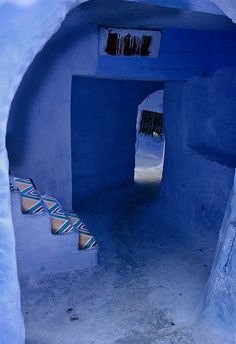 Morocco Travel Inspiration - Chefchaouen or Chaouen is a city in northwest Morocco. It is the chief town of the province of the same name, and is noted for its buildings in shades of blue. Azul Indigo, Bleu Indigo, Periwinkle Blue, Blue Green, Blue And White, Cobalt Blue, Color Blue, Purple, Delft