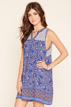 Abstract Paisley Shift Dress