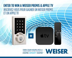 Weiser Canada wants to help you turn your home into a Smart Home, so they are giving you the chance to win a Weiser Premis Smart Lock For Your Home and an Apple TV! Did you remember to lock the doo… Canadian Contests, Smart Door Locks, Home Gadgets, Gift Card Giveaway, Garage House, Enter To Win, Do You Remember, Smart Home, Apple Tv