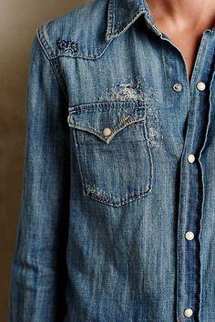 Risa Cotton Chambray Buttondown - anthropologie.com || my comfy goto: the cotton chambray shirt. @discovercotton #sponsored #cottonfavorites