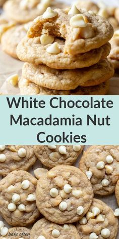 These white chocolate macadamia nut cookies from Live Well Bake Often have slightly crisp edges with soft and chewy centers. Loaded with extra white chocolate chips and macadamia nuts, these are guaranteed to be your new favorite cookie! Grab this easy and decadent cookie recipe and try a batch for dessert today. #whitecocolatemacadamianut #easyhomemadecookies #cookierecipes #easydessert Delicious Cookie Recipes, Easy Cookie Recipes, Best Dessert Recipes, Yummy Cookies, Desert Recipes, Baking Recipes, Bar Recipes, Easy Homemade Cookies, Homemade Desserts