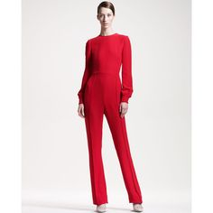 Women's Keyhole-Back Jumpsuit - Valentino (3.360 BRL) ❤ liked on Polyvore featuring jumpsuits, red long sleeve jumpsuit, long sleeve jumpsuit, long sleeve jump suit, jump suit and red wide leg jumpsuit