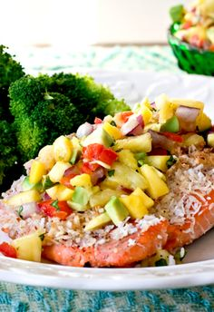 Coconut salmon with pineapple mango relish! Wow what a refreshing dish...
