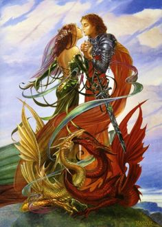 Dragon art - dragon handfasting romance card by briar pagan fantasy wedding greeting card Fantasy Dragon, Dragon Art, Magical Creatures, Fantasy Creatures, Fantasy Kunst, Fantasy Art, Dragons, Fantasy Couples, Fantasy Wedding