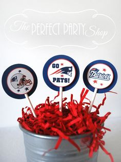 New England Patriots  Cupcake Toppers set by ThePerfectPartyShop