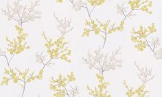 Fancy Garden (FCY1981 7109) - Casadeco Wallpapers - A delicate pretty spring floral blossom all over design, created from circle shapes.  Shown in the fresh lime green and soft beige brown on off white. Other colours available. Please request sample for true colour match.
