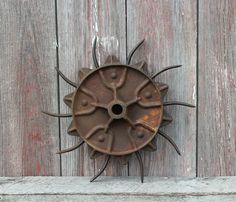 Vintage Rotary Spiked Hoe Cast Iron  Steel Farm Cultivator Garden Art Decor picclick.com