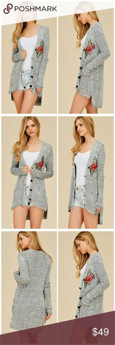 NWT GRAY ROSE PATCH CARDIGAN Cotton Cardigan with Rose Patch Beautiful cardigan  Great for everyday Sweaters Cardigans