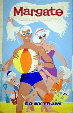 1960s British Rail vintage beach travel poster advertising the Kent seaside town Margate.,17