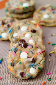 Cake Batter Chocolate Chip Cookies - take what you love about chocolate chip cookies and funfetti cake batter and combine them in this magaz...