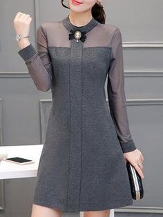 Buy Casual Dress For Women at JustFashionNow. Buy Casual Dress For Women at JustFashionNow. Online Shopping JustFashionNow Women Casual Dress Stand Collar A-line Daily Dress Long Sleeve Casual Cotton Paneled Dress, The [. Summer Dresses For Women, Trendy Dresses, Fashion Dresses, Dresses For Work, Fashion 2018, Dresses Dresses, Womens Fashion, Sleeve Dresses, Ladies Fashion