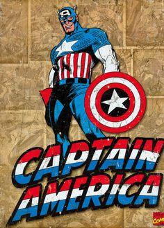 Marvel Comics Vintage Captain America Poster 300gsm  Patriotic super-soldier
