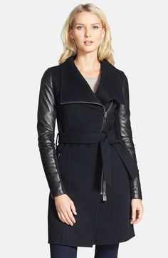 Mackage 'Hemy' Leather Sleeve Asymmetrical  Long Coat available at #Nordstrom