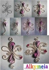 Tutorial Wire Work and Polymer Clay Originally uploaded by Alkhymeia I found this wonderful pictorial tutorial from flickr member Alkhymela! The simple step-by-step photos show how a lovely intrica…