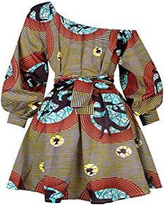 Women African Mini Dress Printing Long Sleeve Off Shoulder Dashiki Sexy Dress Teresamoon Brown African Dresses For Women, African Wear, Dresses For Teens, Maxi Robes, Dashiki, Elegant Wedding Dress, Fashion Books, Robe Amazon, Amazon Fr