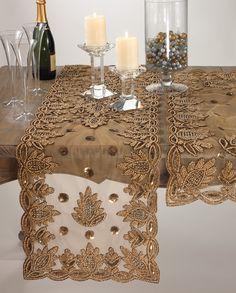 Elegant Lakshmi Hand Beaded Gold Table Runner 16 X72 New